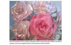 Para adorno de tortas o cupcake, centros de mesa, ramos y tocados de novia. Como souvenirs, o pinche golosinero. Bellísimas rosas de porcelana fría!