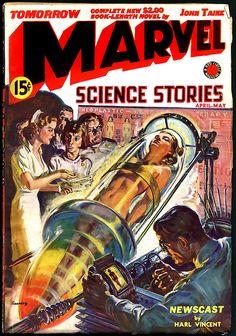 Sunday Morning Bonus Pulp: Marvel Science Stories, April-May 1939 Science Fiction Magazines, Science Fiction Art, Mad Science, Comics Illustration, Illustrations, Arte Sci Fi, Sci Fi Art, Sci Fi Books, Comic Books Art