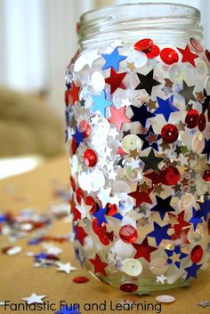Fantastic Fun and Learning sparkly patriotic jar candle holder craft for kids