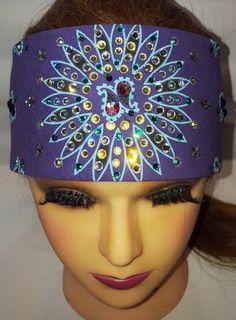 Navy Blue Paisley Square Chop Top Biker Headband Bandanna Sweatband Head Wrap
