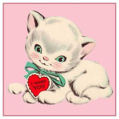 Valentine Kitten Cat Hearts Counted Cross Stitch or Counted Needlepoint Pattern