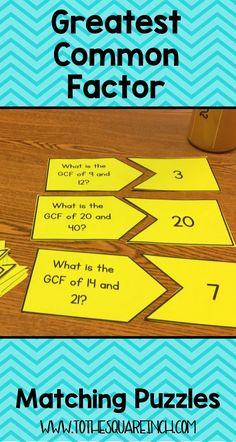 GCF Matching Center | GCF Matching Game | Greatest Common Factor Practice Math Strategies, Math Resources, Math Activities, Math Worksheets, Teaching Skills, Teaching Math, Math Teacher, Math Classroom, Lcm And Gcf