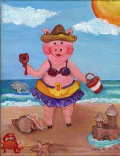 Pig Girl at the Beach by Sharon Foster