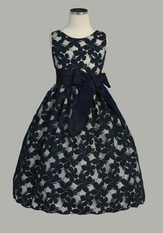 Flower gir dress/ Ivory Flower Embroidered Lace Dress w/ Removable Sash  Adorbs!