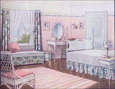 1916 Pink Summer Bedroom    Source: Ladies Home Journal