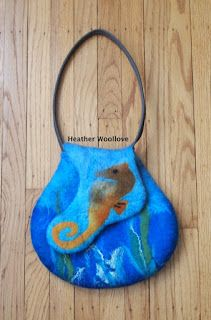Wool love-functional fiber art: 'Marine Life' Purse For A Pisces- Part 3 of 3 ♡