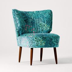 L I B E R T Y + Swoon Editions - The Duke Cocktail Chair in Ray, Lagoon- swooneditions.com - patterned chair  libertychair
