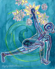 Yoga Art Original Painting 8x10 Reach yoga original by ElizaTobin
