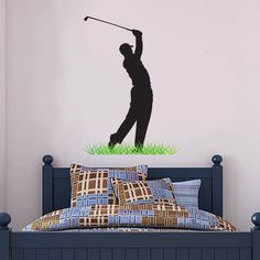 Golf shop for Golf Gifts, Wall Stickers, Murals & Wall Art, the perfect presents for the ultimate Golf bedroom. Better than wallpaper & posters. Football Bedroom, Football Wall, Diy Bedroom, Bedroom Furniture, Office Golf, Entertainment Wall, Sports Wall, Golf Shop, Mural Wall Art