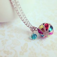 Round Colorful Jingle Bell Beach Ball Necklace with by MintMarbles, $10.00
