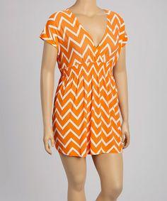 Love this Orange & White Zigzag Dress - Plus on #zulily! #zulilyfinds