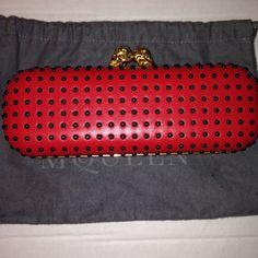 Alexander McQueen Red Studded Twin Skull Clutch NT Alexander McQueen Red Black Studded Twin Skull Clutch NWT Alexander McQueen Bags Clutches & Wristlets