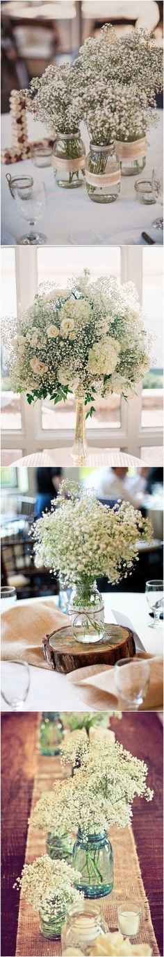 20 Rustic Baby's Breath Wedding Centerpiece Decorations Ideas #weddings #weddingcenterpieces #weddingdecorations