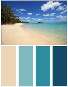 Home Design Ideas: Nature's Color Palette - Homes by Tradition Ocean Color Palette, Beach Color Palettes, Ocean Colors, Colours, Bathroom Color Palettes, Nautical Paint Colors, Teal Paint, Bathroom Color Schemes, Wall Colors