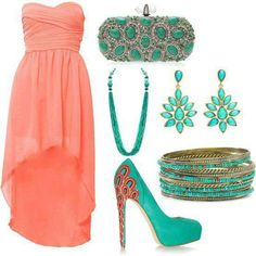 Peach and sea green