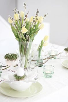 table decorations for the wedding. use white tulips and lavender ribbon on mason jars. Easter Lunch
