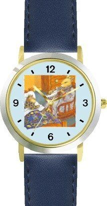 Mommy Bunny Rabbit with her Banjo Plays her Baby to Sleep - from Hush Little Baby by Artist: Sylvia Long - WATCHBUDDY® DELUXE TWO-TONE THEME WATCH - Arabic Numbers - Blue Leather Strap-Size-Children's Size-Small ( Boy's Size & Girl's Size ) WatchBuddy. $49.95. Save 38% Off!