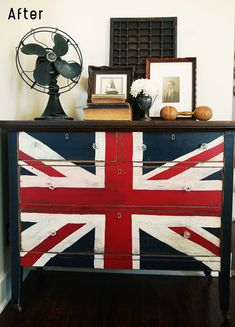 Union Jack dresser.  Perfect for a man cave.