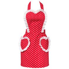 Look stylish and sweet in and out of the kitchen in this cute retro apron from Carolyn's Kitchen's vintage-inspired collection. Features a lovely design of polka dots and heart shapes. Sewing Hacks, Sewing Crafts, Sewing Projects, Pink Apron, Apron Designs, Sewing Aprons, Aprons Vintage, Kitchen Aprons, Apron Dress
