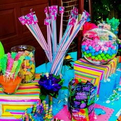 Luau Candy Table... OMG!! This is gonna be the funnest to shop for!!! I get to buy candy without worrying what color it is!!!! SO MANY DIFFERENT types of candies they'll be. (hawaiian luau activities)