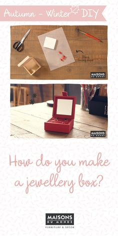 How to create your own jewellery box I Maisons du Monde Make Your Own Jewelry, Create Your Own, Do It Yourself Home, Diy Videos, Home Accessories, Jewelry Box, Creative, How To Make, Inspiration