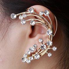 2014 Unique Women Jewelry  clothing  Flowers Earrings, Luxury Fashion Ear cuff Earrings,Free shipping-in Stud Earrings from Jewelry on Aliex...