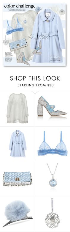 """Rock This Look: Blue and Silver"" by svijetlana ❤ liked on Polyvore featuring Emilia Wickstead, Miu Miu, La Perla, Belk & Co., Helen Moore, Wedgwood, polyvoreeditorial and blueandsilver"