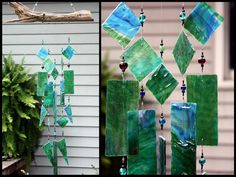 Stained Glass Windchime Greens with Blues  by BerlinGlass #stained_glass #windchime #garden