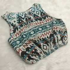 Printed bubbled crop top From Pacsun: size large, scrunch banded at the bottom to make the top bubble up so its not tight. Long opening in the back is subtle, great paired with a lace bralette underneath! Perfect condition 100% polyester, feels like thick satin/ chiffon PacSun Tops Crop Tops