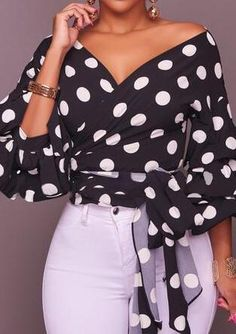 Dylanlla Womens Shirts, Sexy Long Puff Sleeve Polka Dot Ruched V Neck Casual Tunic Tops Blouses T-Shirts with Belt Black Casual Outfits, Fashion Outfits, Womens Fashion, Sarah Jessica, Vetement Fashion, Mein Style, Mode Hijab, Boho Tops, Casual Tops