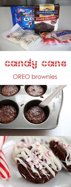 Candy cane OREO brownies -super easy to make and taste amazing!                                                                                                                                                                                 More