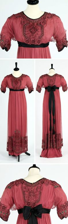 Evening gown, Mme. Arnaud, Chambery, ca. 1912. Rose-colored silk gauze in empire style. Bodice and hem embroidered with floss silk. Black satin sash. Kerry Taylor Auctions