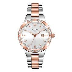 Ladies' Bulova Diamond Collection Watch with Silver Dial (Model: 98R169)
