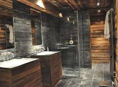 Vitruve Associés | Ferme rénovée à vendre à Megève Chalet Style, Design Research, Grey Flooring, Home Reno, Bathroom Interior Design, Log Homes, My Dream Home, Architecture Design, Loft