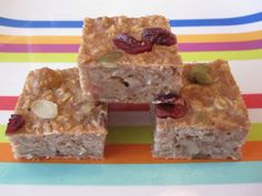 Oatmeal on-the-go bars...We make these every week. I use a glass 9 x 9 pan and I scoop the flour with a spoon into the measuring cup so it's not too dense. LOVE this weelicious recipe!