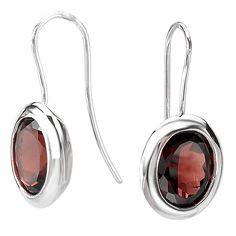 NEW STERLING SILVER .925 RED GARNET OVAL BEZEL SET EARRINGS