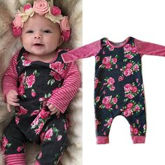 0b0025d55 US Stock Infant Baby Girl Floral Romper Bodysuit Playsuit Clothes Kids  Outfit