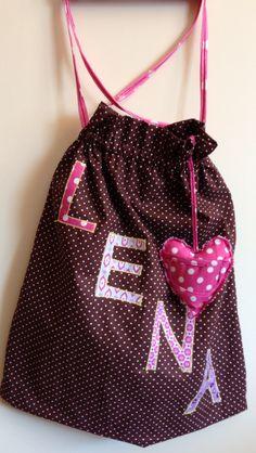 bag girl bag shoes bag for kindergarten worek na ciapy do przedszkola dziewczynka heart serce pink brown
