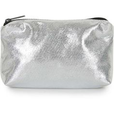 TOPSHOP Soft Glitter Make Up Bag ($15) ❤ liked on Polyvore featuring beauty products, beauty accessories, bags & cases, makeup bag, silver, toiletry kits, travel kit, cosmetic purse, make up purse en cosmetic bag