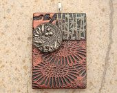 Mixed Media Pendant Chrysanthemums Bamboo Antique Copper Rust Sage Green Silver Black Floral Pendant