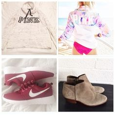 "ISO LIST • WILLING TO TRADE FOR THESE If you have these items and are willing to trade me for them for something in my closet, PLEASE let me know!!                                                               • VS PINK Zip Up Watercolor Anorak in Size XS/S                                                                          • VS PINK Cowl Neck Logo Hoodie in Size XS      • Sam Edelman ""Petty"" Boots Size 7                                                                       • Maroon…"