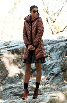 Bernardo Goose Down Coat, Halogen® Sweater & Jessica Simpson Skirt  available at #Nordstrom