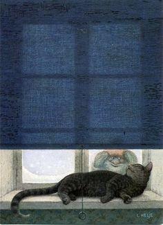 Cat in the window illustration Art And Illustration, Book Illustrations, Faeries, Cat Art, Elves, Fantasy Art, Book Art, Fairy Tales, Troll