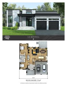 New houses with flat roofs for sale – Construction Louis-Seize - Home & DIY Modern Bungalow Exterior, Modern Bungalow House, Bungalow House Plans, Dream House Exterior, Modern Houses, Tiny House, Simple House Design, Modern House Design, Sims House Plans