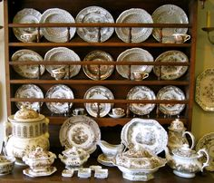 Antique Transferware at Mulberry Heights Antiques ~ the large piece on the left, oh my!
