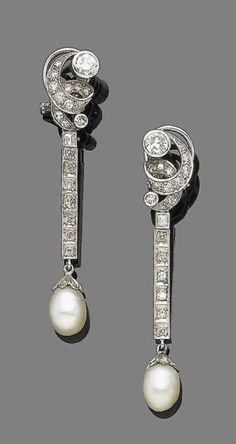 A pair of pearl and diamond pendent earrings  Each scrolling surmount set with single and brilliant-cut diamonds, suspending a step and single-cut diamond line in boxed collet-settings, terminating in 6.8mm and 7.0mm pearl drops, capped by rose-cut diamonds, diamonds approx. 1.60cts total, length 5.3cm