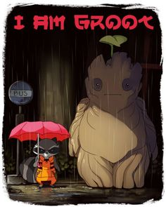 Guardians of the Galaxy x My Neighbour Totoro - Rocket Racoon and Groot by Sambragg *