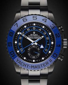 Titan Black's custom black Rolex YachtMaster II watches with complete specialized PVD / DLC finish. Rolex Datejust Ii, Rolex Submariner No Date, Cool Watches, Rolex Watches, Black Rolex, Buy Rolex, Vintage Rolex, Vintage Men, Rolex Oyster Perpetual