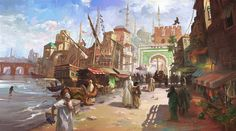 Medieval Fantasy Port by LotharZhou on DeviantArt This imaginary concept art is for a commission. I am trying to capture the strong sun light and heat in a busy Moroccan port. Artrage only. Fantasy Town, Fantasy Castle, Fantasy Rpg, Medieval Fantasy, Fantasy World, Medieval Town, Fantasy Art Landscapes, Fantasy Landscape, Fantasy Concept Art