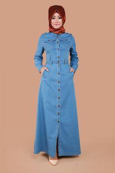 Jean Dress Outfits, Jeans Dress, Shirt Dress, Denim Abaya, Hijab Dress, Abaya Fashion, Mode Hijab, Muslim Women, Pencil Dress